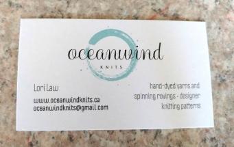 Business cards, Oceanwind Knits. http://www.oceanwindknits.ca